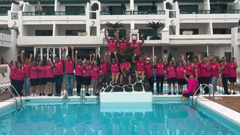 Club Las Calas Breast Cancer Care Big Pink staff group